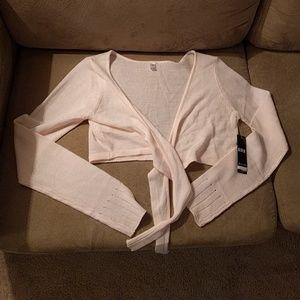 NWT Bloch pale pink dance tie-front shrug